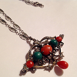 Victorian Sterling red coral seed pearl necklace