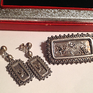 Antique Victorian Sterling floral motif earrings and matching pin