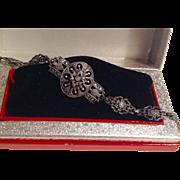 Vintage Sterling marcasite intricate design bracelet