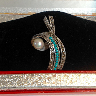 Vintage 1920's Sterling Persian turquoise marcasite pearl pin - gorgeous!