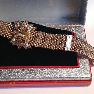 Antique Victorian goldfilled mesh slide and tassel bracelet - excellent