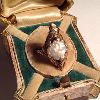 Antique Art Nouveau 10k baroque pearl diamond ring - size 8.25