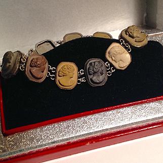 Antique Victorian Sterling lava cameo bracelet
