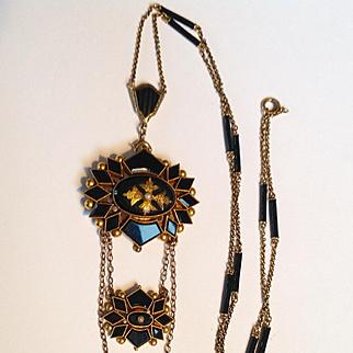 Antique Victorian 14k gold black onyx 3 tier pandant and black enamel chain