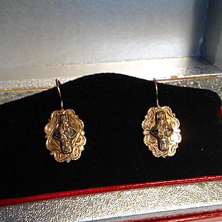 Antique Victorian 10k gold black enamel accents pierced earrings
