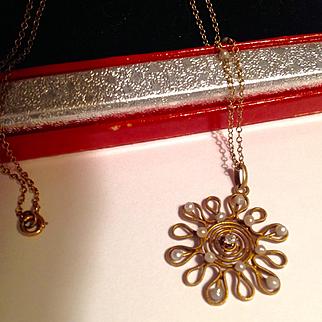 Antique Art Nouveau gold seed pearl diamond pendant & chain