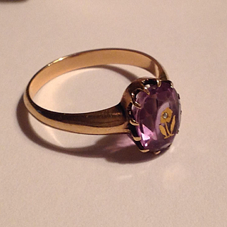 Antique Victorian Rose of Sharon 10kgold amethyst ring
