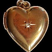 Vintage 1940's 14k gold diamond heart locket