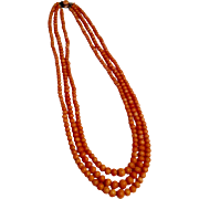 Antique Victorian natural salmon coral 3 strand necklace