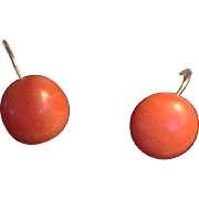 Antique natural coral cabochon earrings