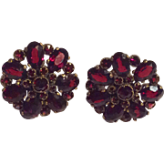Antique bohemian red garnet pierced earrings - beautiful!