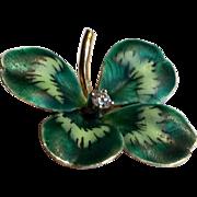 Antique Art Nouveau 14k diamond enamel clover pendant - perfect
