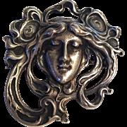 Fantastic Art Nouveau massive sterling female head Gorham brooch pin