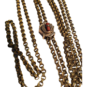 Antique Victorian heavy long gold filled chain and slide