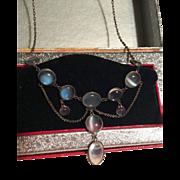 Antique moonstone sterling festoon necklace