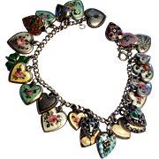 Incredible sterling enamel puffy hearts charm bracelet - 25 charms, 5 Walter Lampl