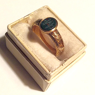 Incredible Victorian mint 14k carved bloodstone dated 1876 secret ring - amazing!
