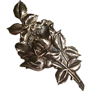 Art nouveau Unger Brothers large sterling floral brooch - gorgeous
