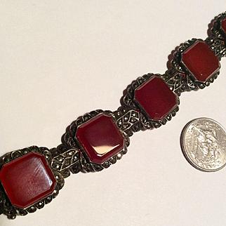 Vintage 1920's sterling Germany Marcasite carnelian heavy bracelet