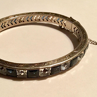 Vintage Art Deco sterling hinged channel set blue and clear bracelet