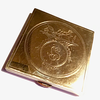 Vintage Signed Hermes Sterling Gold and ruby compact