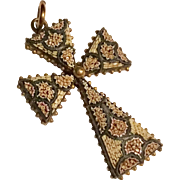 Antique micro mosaic cross - excellent!