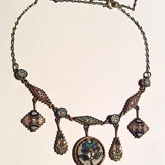 Antique micro mosaic festoon necklace