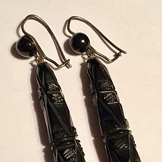 Antique Victorian carved jet long dangle earrings