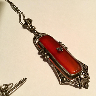 Gorgeous Vintage Signed Germany sterling Marcasite carnelian necklace