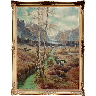 Signed vintage wildlife painting circa 1900, 16 x 12 oil on board