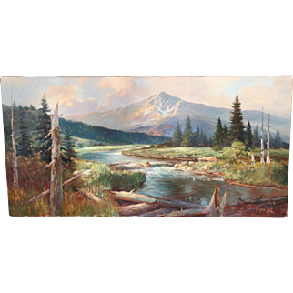 Vernon Kerr, early listed CA artist, O/C 30 x 60