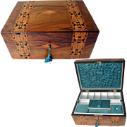 Antique Walnut Sewing or Jewelry Box. C1880. Tunbridge Ware: Original Silk Interior
