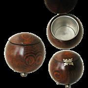Tea Caddy. Solid Oak Spherical. Art Deco 1920 /1930s