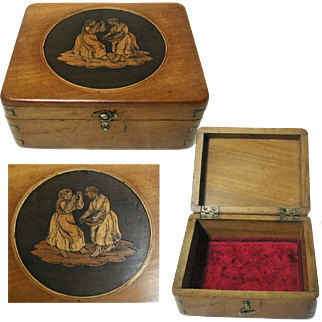Antique Trinket / Jewelry Box: Italian Sorrento Ware. Inlaid