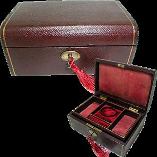 Dark Red Jewelry Box. Interior Tray. Key