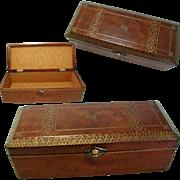 Antique Leather Italian Box. Gold Tooling. Original Interior