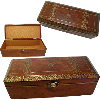 Lovely Embossed Leather Italian Box. Early C20th. Original Interior