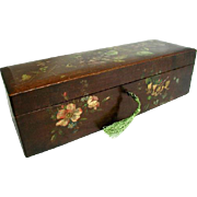 Hand Painted 19th Century Belgium Spa Ware Box. Antique Souvenir Ware, Finely Painted with Flowers on Top, Sides and Front.