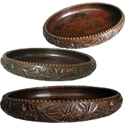 Black Forest Fruit Bowl. Oval Shape, Solid Hand Carved Wood