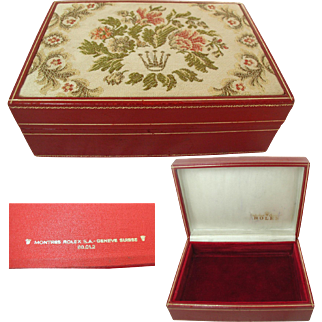 Rolex Tapestry Box. 60.01.2.Red Leather. Vintage:  Made in Switzerland