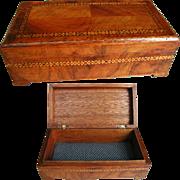 Inlaid Wooden Box: Walnut Parquetry Veneer: Jewelry Box 1930s