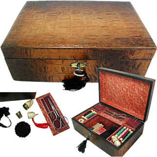 Charming Sewing Box with Fittings & Contents: Circa 1920s