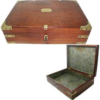 Georgian Solid Mahogany Box; Campaign Style, Brass Mounted