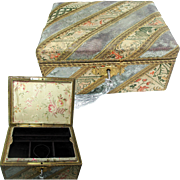 19th Century French Jewelry Box. Original Fabric Covering & Silk
