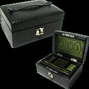 Small Antique Leather Jewelry Box. Original Green Silk Interior