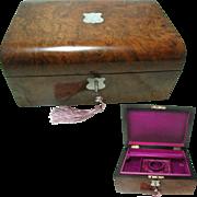 Antique English Burr Walnut Jewelry Box. Silk Interior