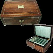Antique Jewelry Box 1830s; Brass Inlay; Silk Lining