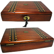 Solid Walnut Tunbridge Ware Writing Box. Brass Fittings. Lock & Key. Pen