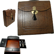 Antique Tooled Leather Writing box: Fitted Interior: High Quality