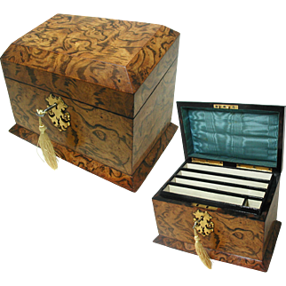 Superb Antique Stationery Box: Burr Wood. Silk Interior